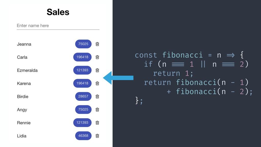 const fibonacci = n !=> { if (n !!=== 1 !|| n !...