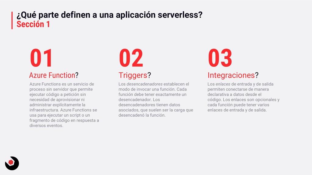 ¿Qué parte definen a una aplicación serverless?...