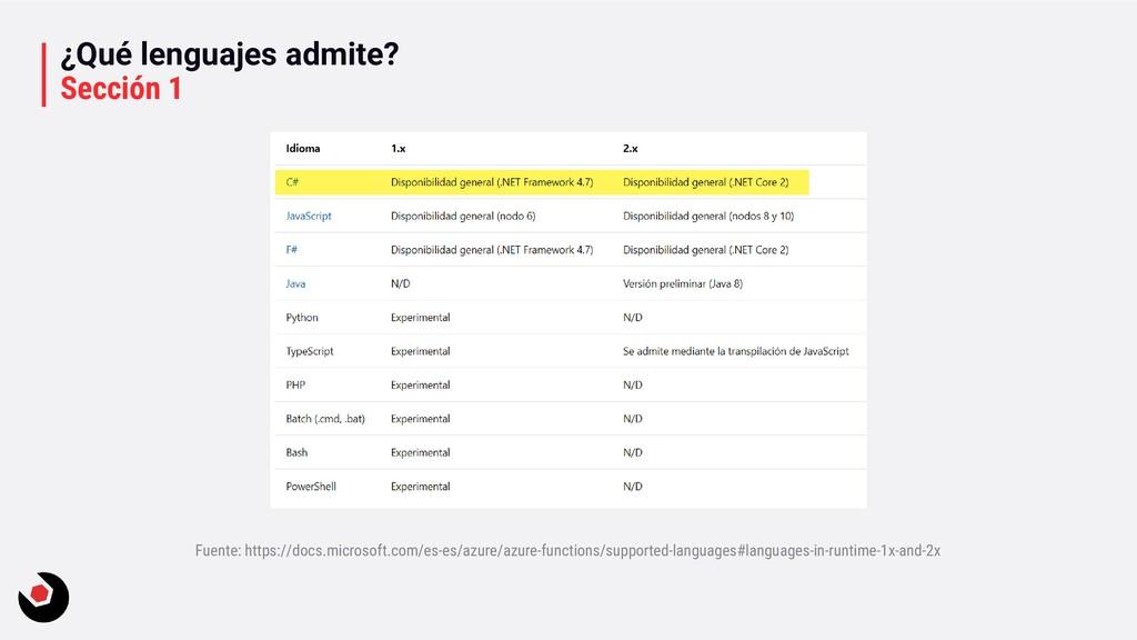 ¿Qué lenguajes admite? Sección 1 Fuente: https:...