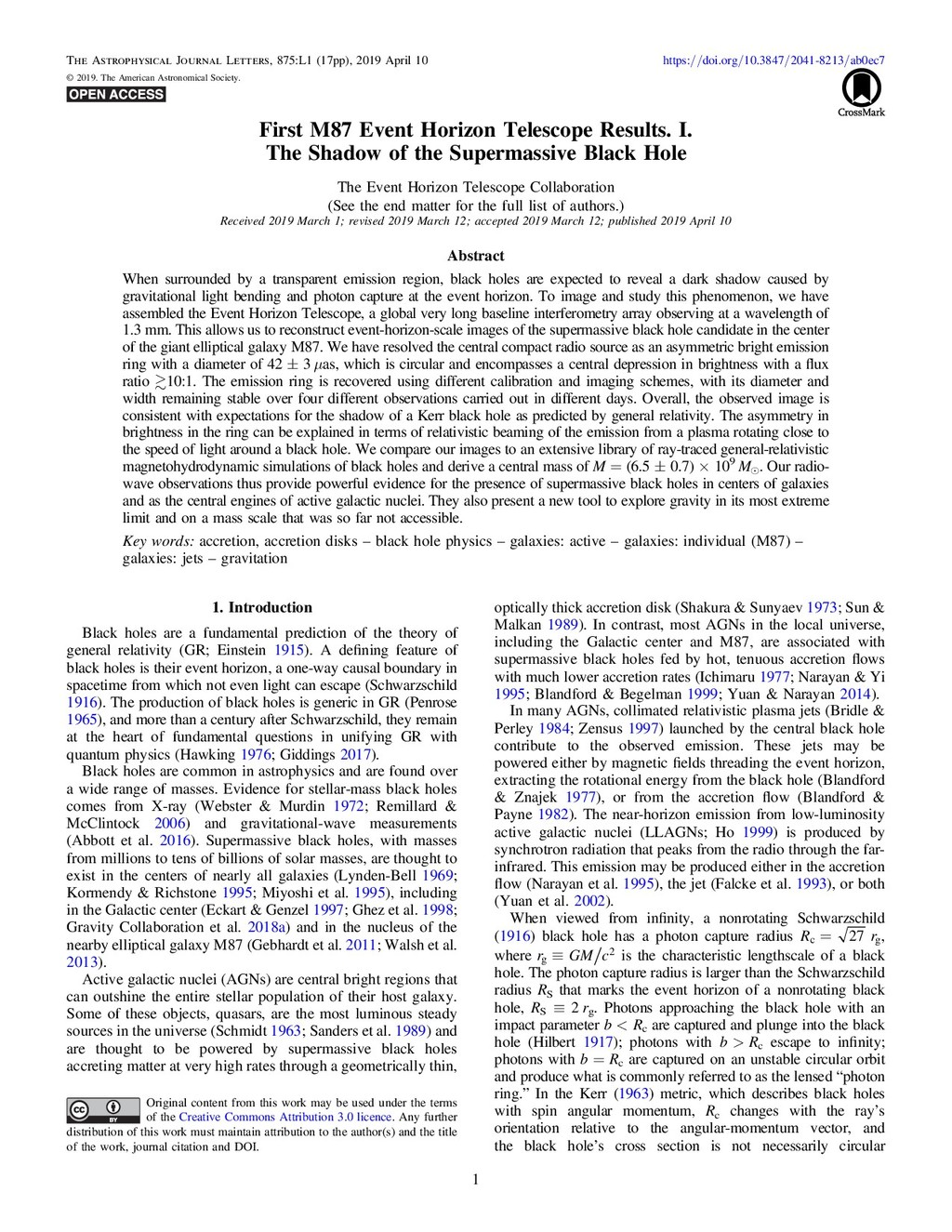 First M87 Event Horizon Telescope Results. I. T...