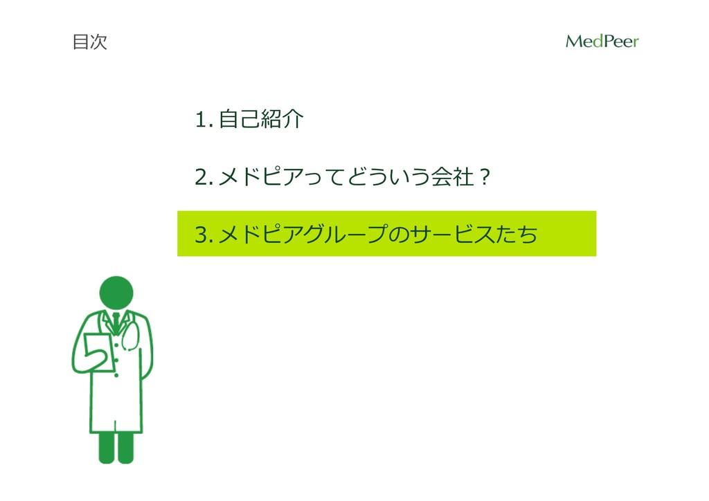 ⽬次 1. ⾃⼰紹介 2. メドピアってどういう会社? 3. メドピアグループのサービスたち