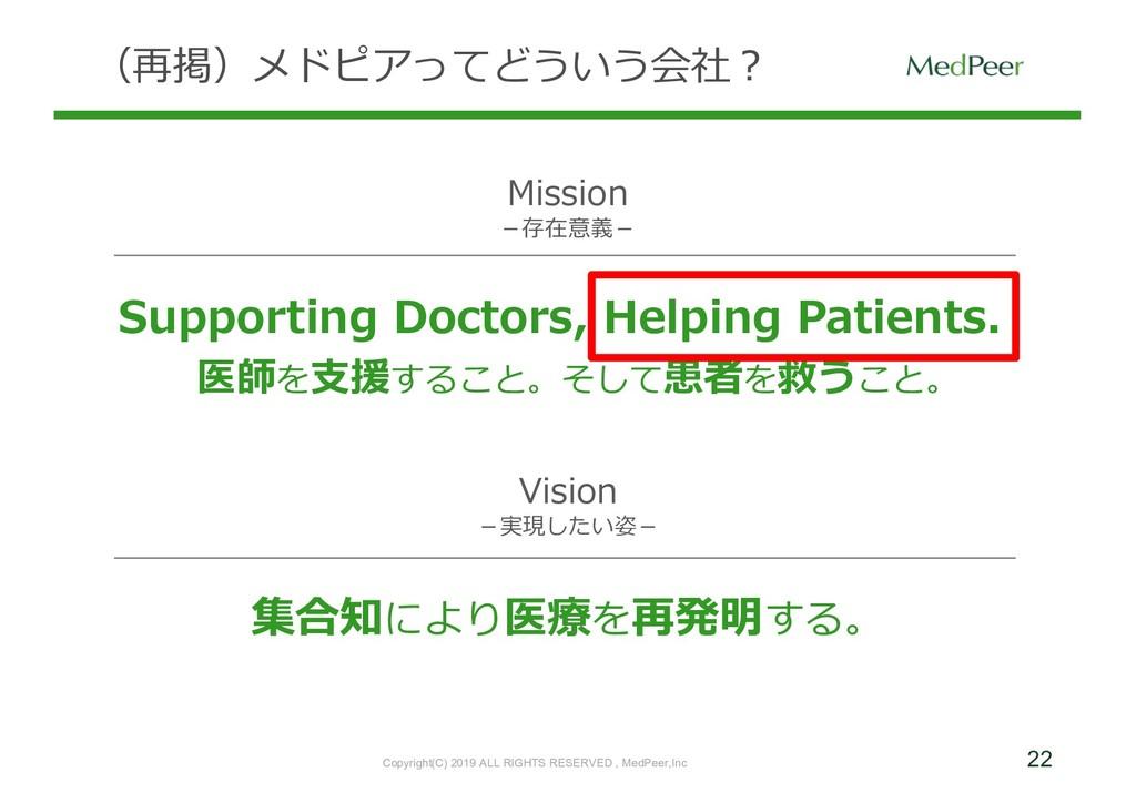 22 (再掲)メドピアってどういう会社? Supporting Doctors, Helpin...