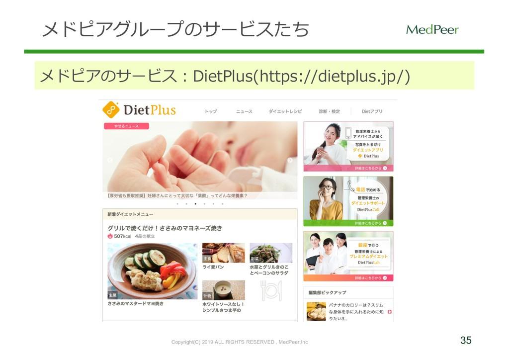 35 メドピアグループのサービスたち メドピアのサービス:DietPlus(https://d...