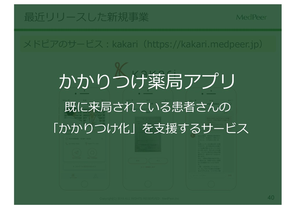 40 最近リリースした新規事業 メドピアのサービス:kakari(https://kakari...