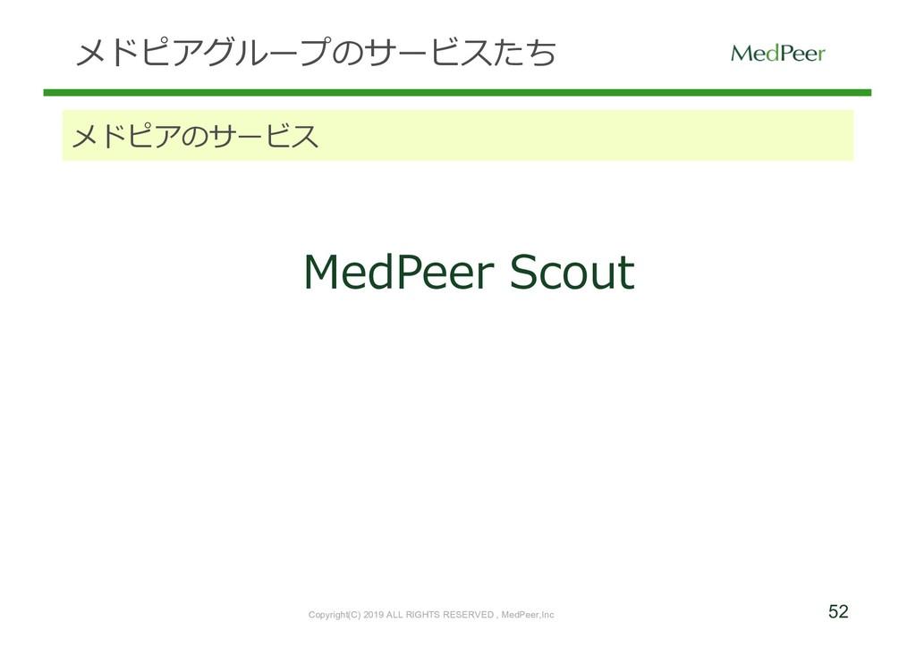 52 メドピアグループのサービスたち メドピアのサービス MedPeer Scout Copy...