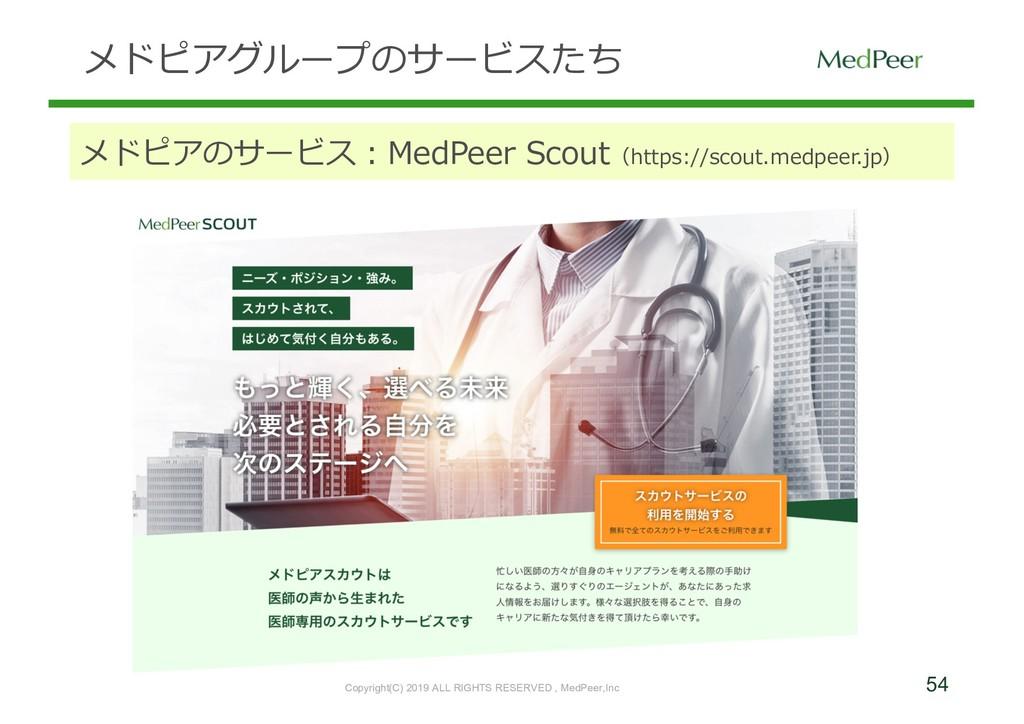 54 メドピアグループのサービスたち メドピアのサービス:MedPeer Scout(http...