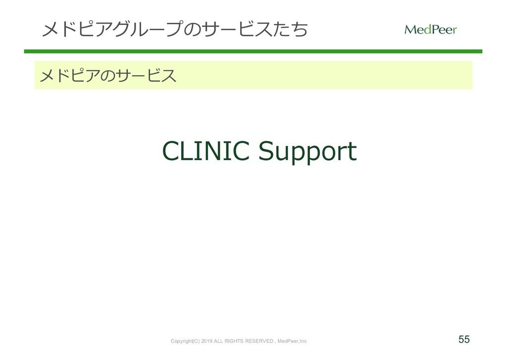 55 メドピアグループのサービスたち メドピアのサービス CLINIC Support Cop...