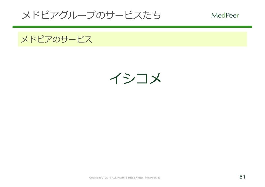 61 メドピアグループのサービスたち メドピアのサービス イシコメ Copyright(C) ...