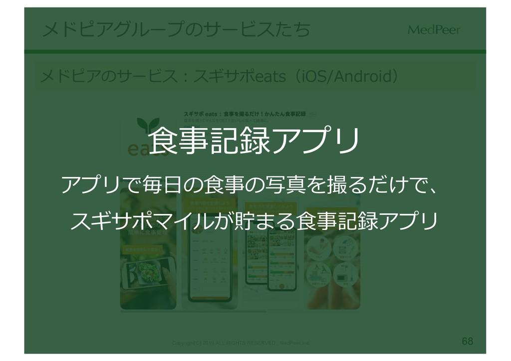 68 メドピアグループのサービスたち メドピアのサービス:スギサポeats(iOS/Andro...