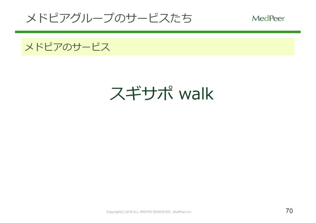 70 メドピアグループのサービスたち メドピアのサービス スギサポ walk Copyrigh...