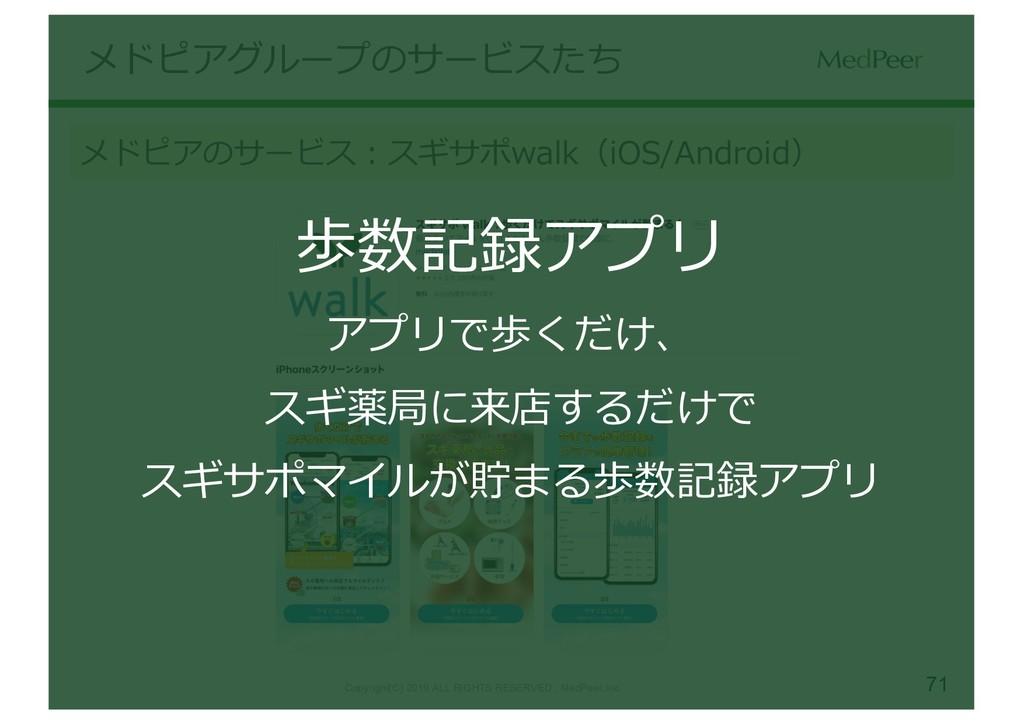 71 メドピアグループのサービスたち メドピアのサービス:スギサポwalk(iOS/Andro...