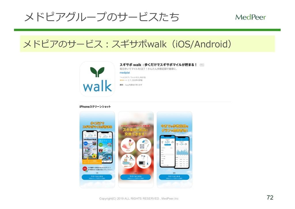 72 メドピアグループのサービスたち メドピアのサービス:スギサポwalk(iOS/Andro...