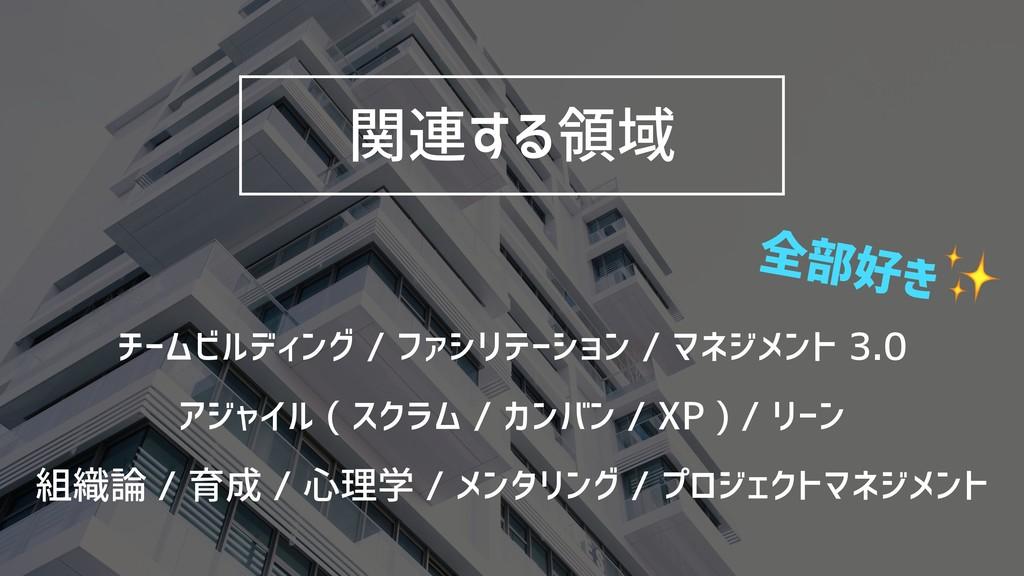 関連する領域 チームビルディング / ファシリテーション / マネジメント 3.0 アジャイル...