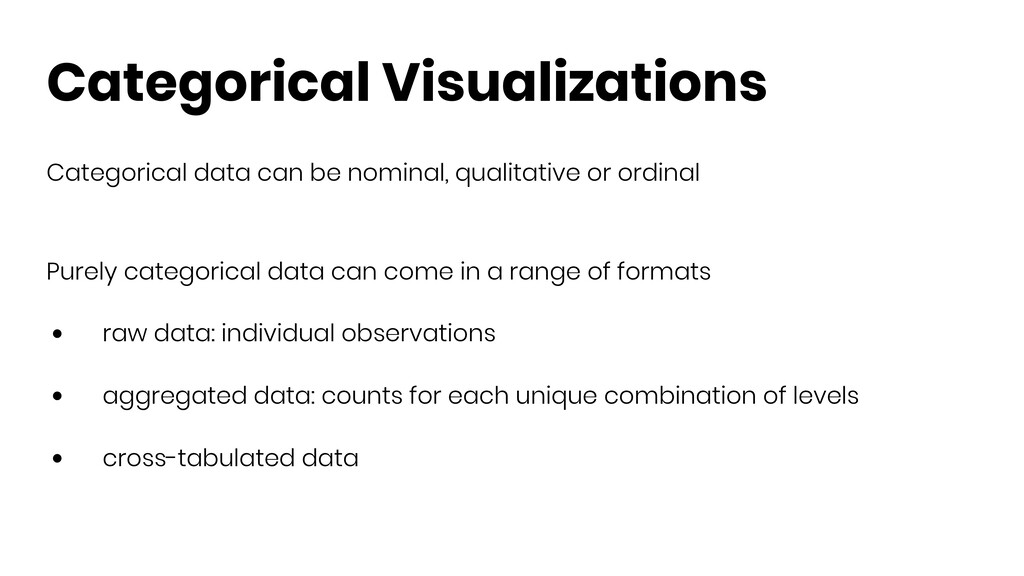 Categorical Visualizations Categorical data can...