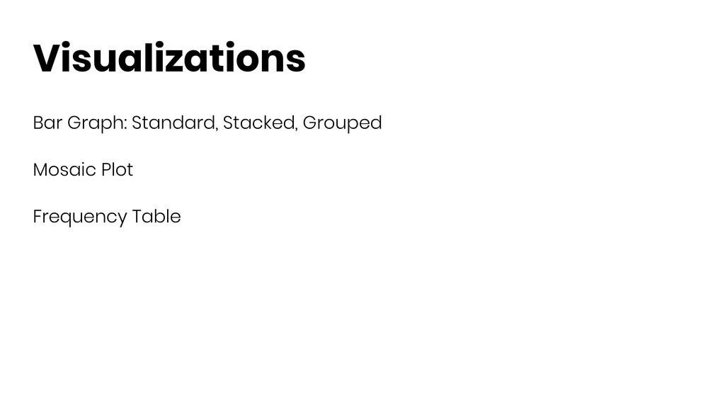 Visualizations Bar Graph: Standard, Stacked, Gr...