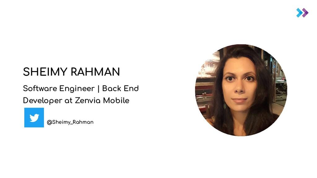 SHEIMY RAHMAN Software Engineer | Back End Deve...