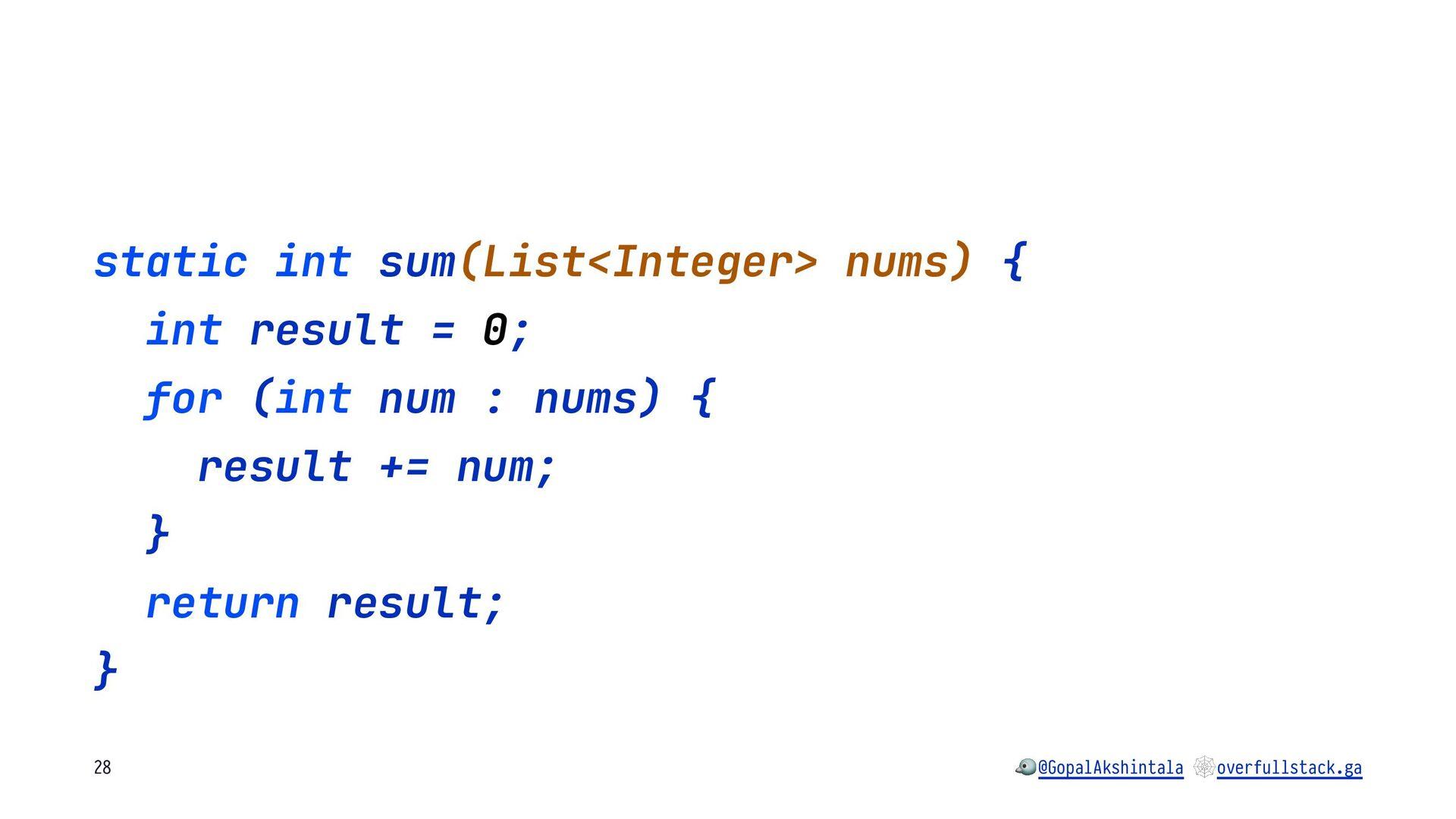 static int sum(List<Integer> nums) { int result...
