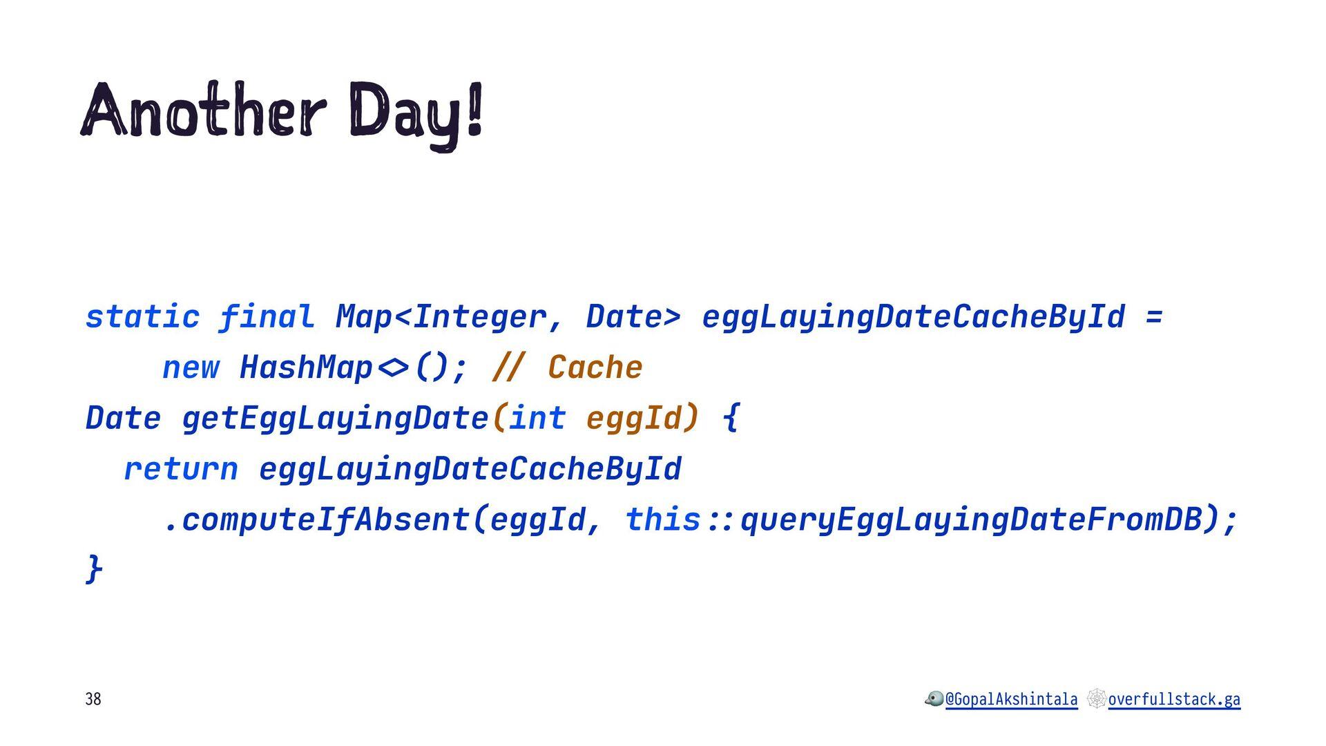 A ot er ay! static final Map<Integer, Date> egg...