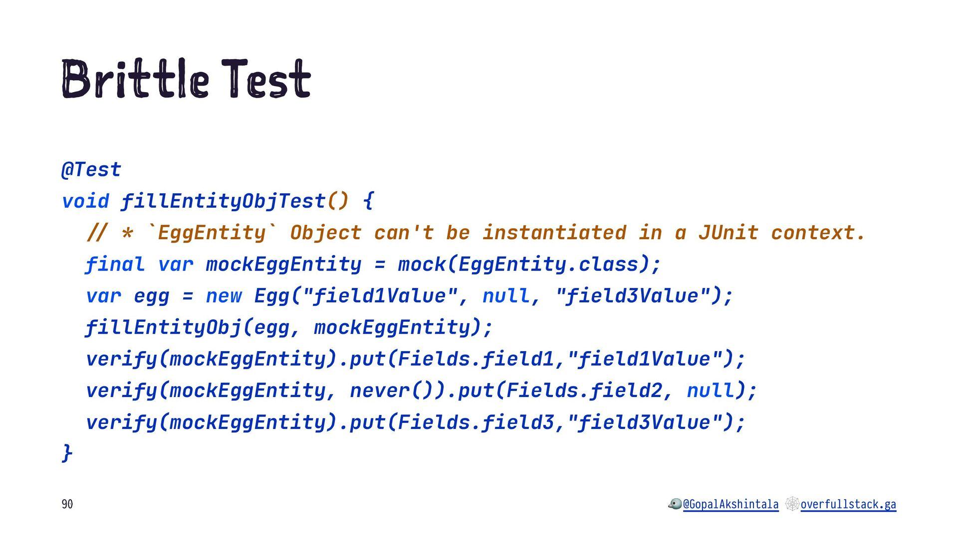 "B it le es @Test void fillEntityObjTest() { !"" ..."