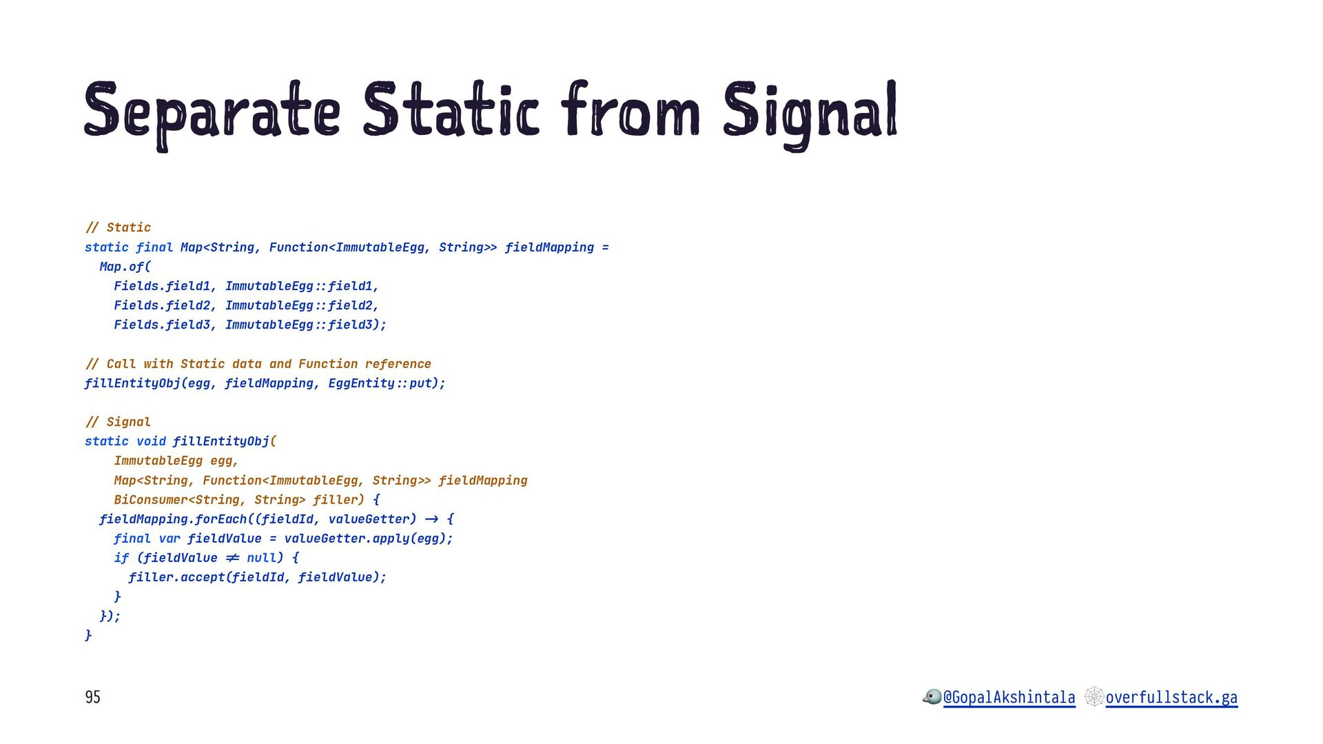 """S pa at S at c ro S gn l !"""" Static static final..."""