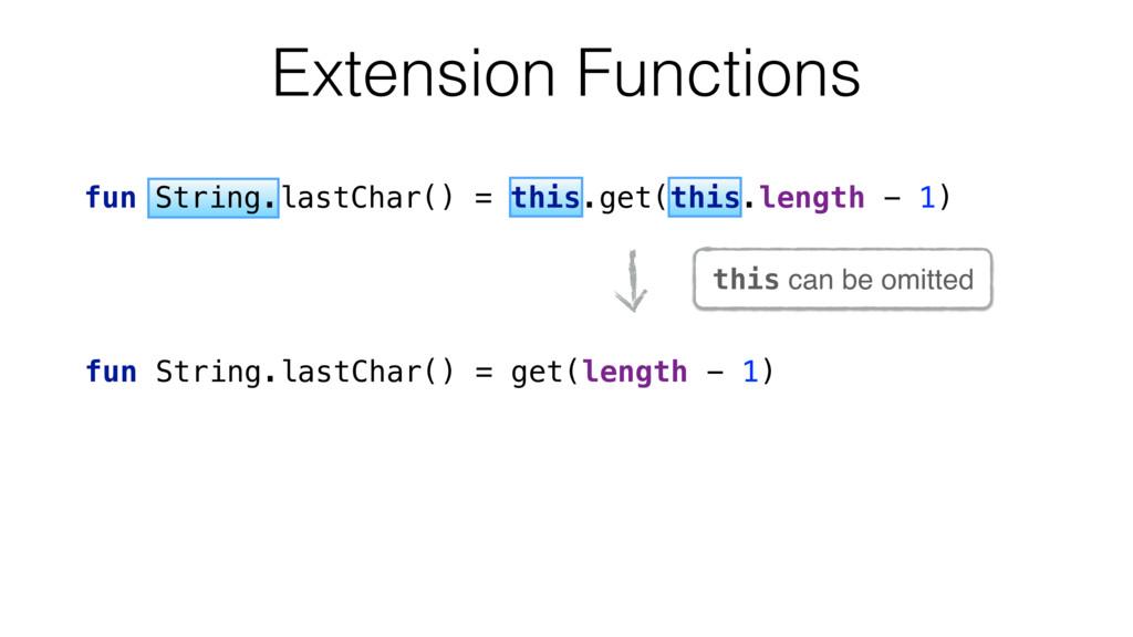 fun String.lastChar() = get(length - 1) this ca...