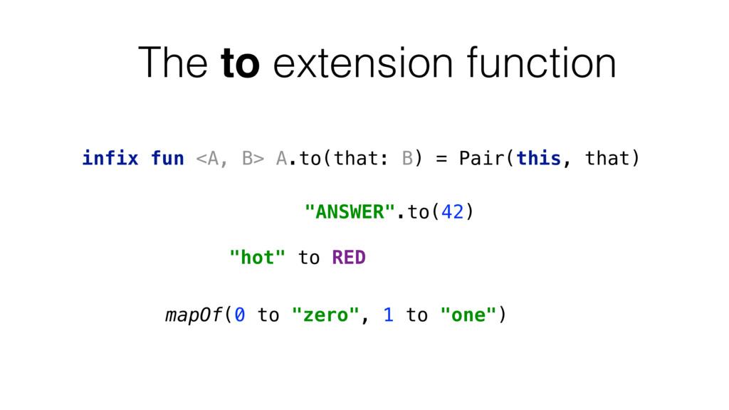 infix fun <A, B> A.to(that: B) = Pair(this, tha...