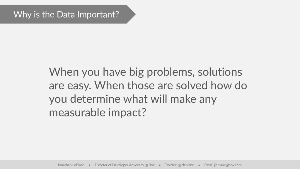 Why is the Data Important? When you have big pr...
