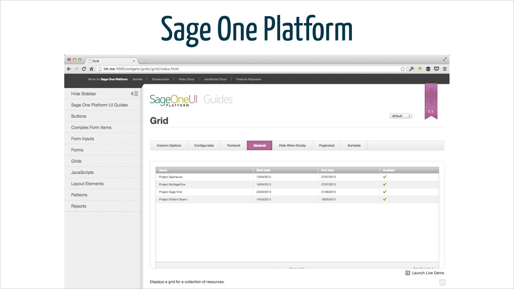 Sage One Platform
