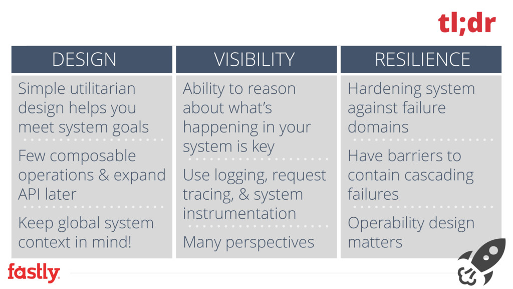 tl;dr DESIGN VISIBILITY RESILIENCE Simple utili...