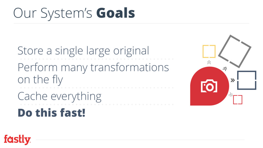 Our System's Goals Store a single large origina...