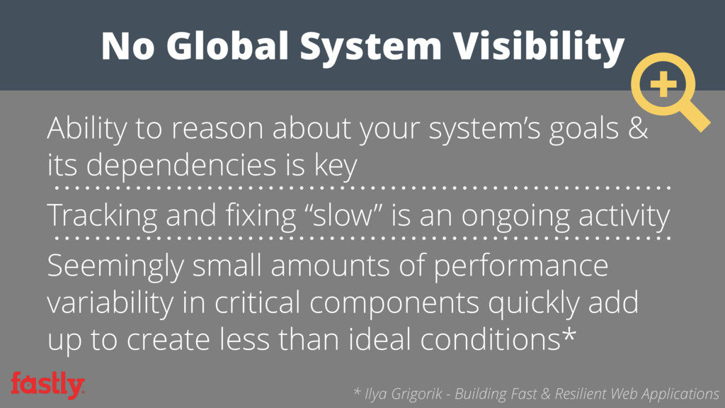 No Global System Visibility Ability to reason a...