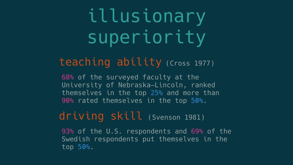 illusionary superiority teaching ability (Cross...