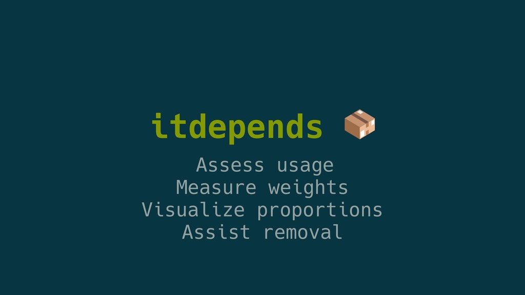 itdepends  Assess usage Measure weights Visuali...