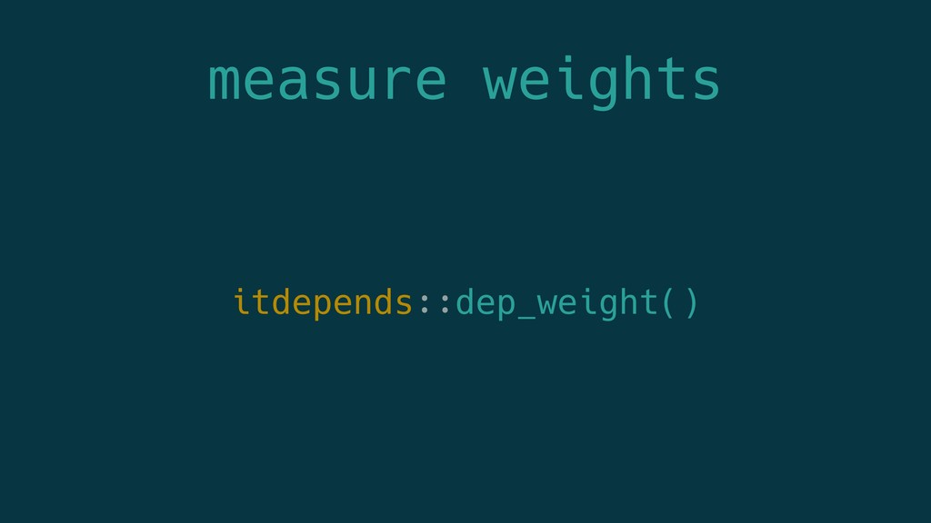 measure weights itdepends::dep_weight()