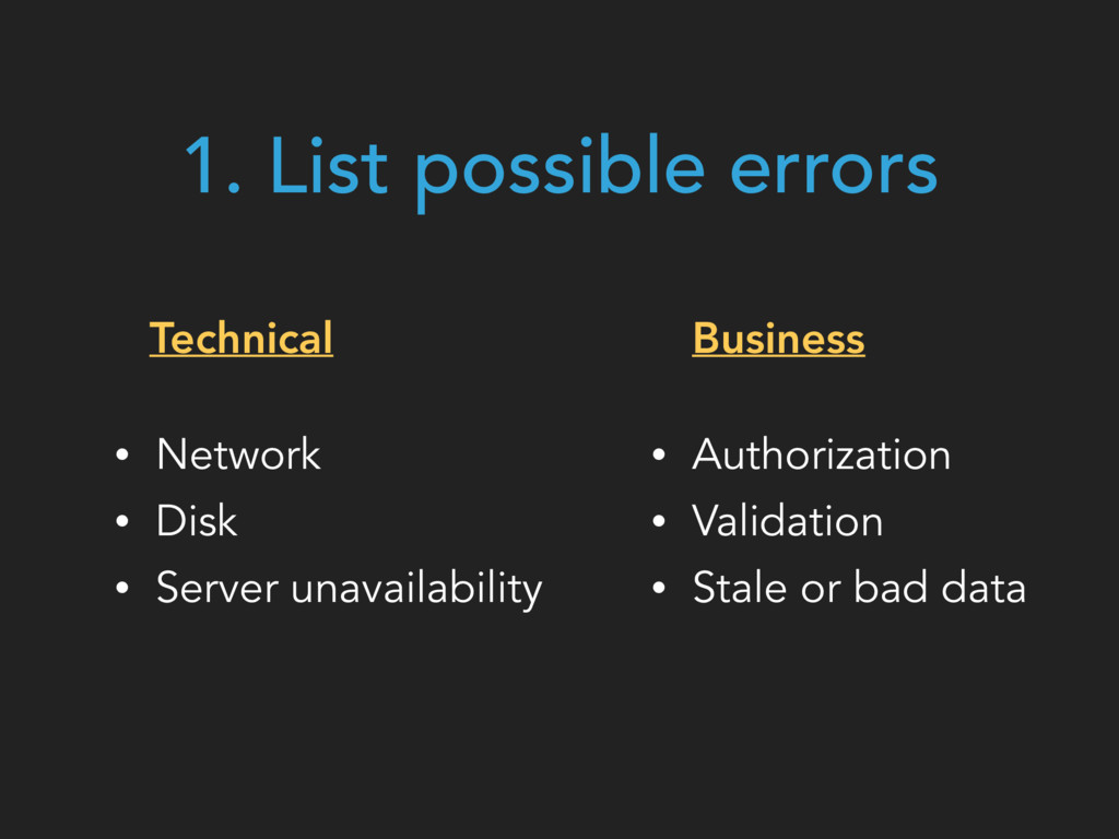 Technical • Network • Disk • Server unavailabil...