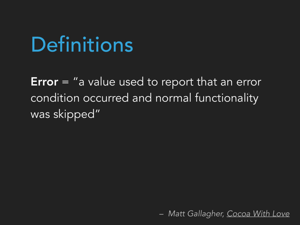 """Error = """"a value used to report that an error c..."""