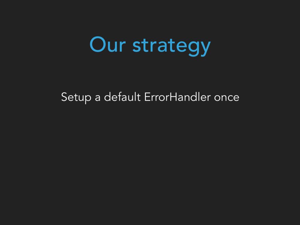 Our strategy Setup a default ErrorHandler once