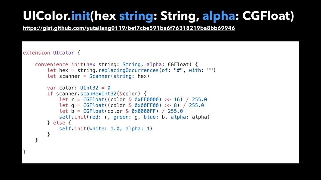 UIColor.init(hex string: String, alpha: CGFloat...