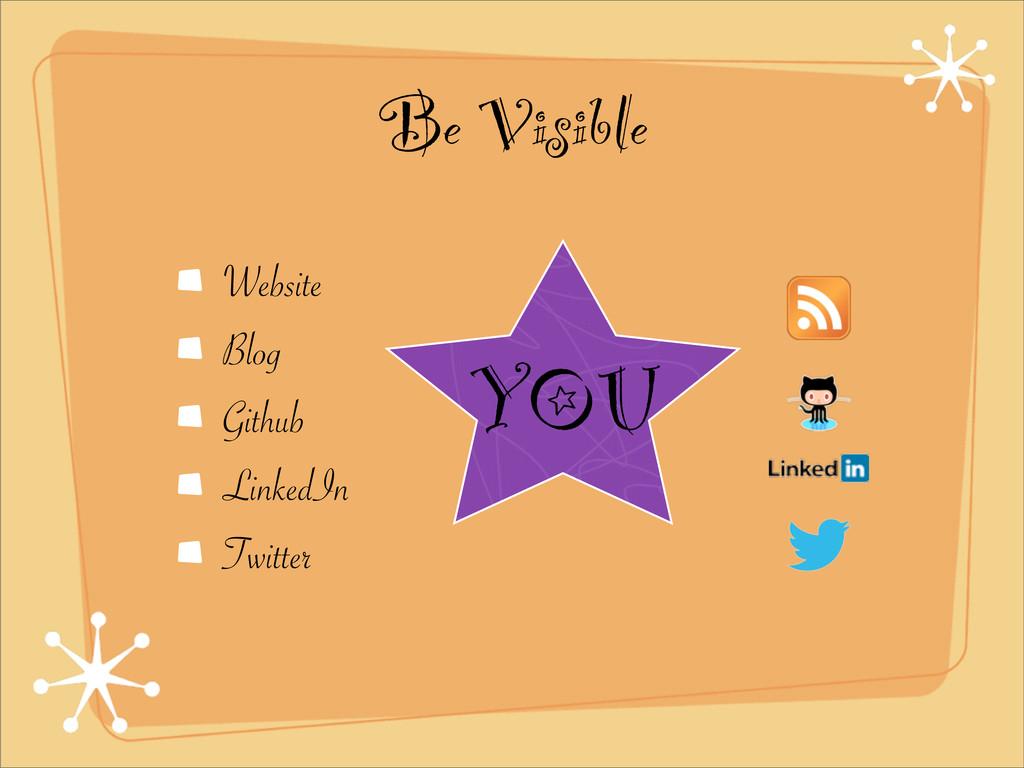 Be Visible Website Blog Github LinkedIn Twitter...