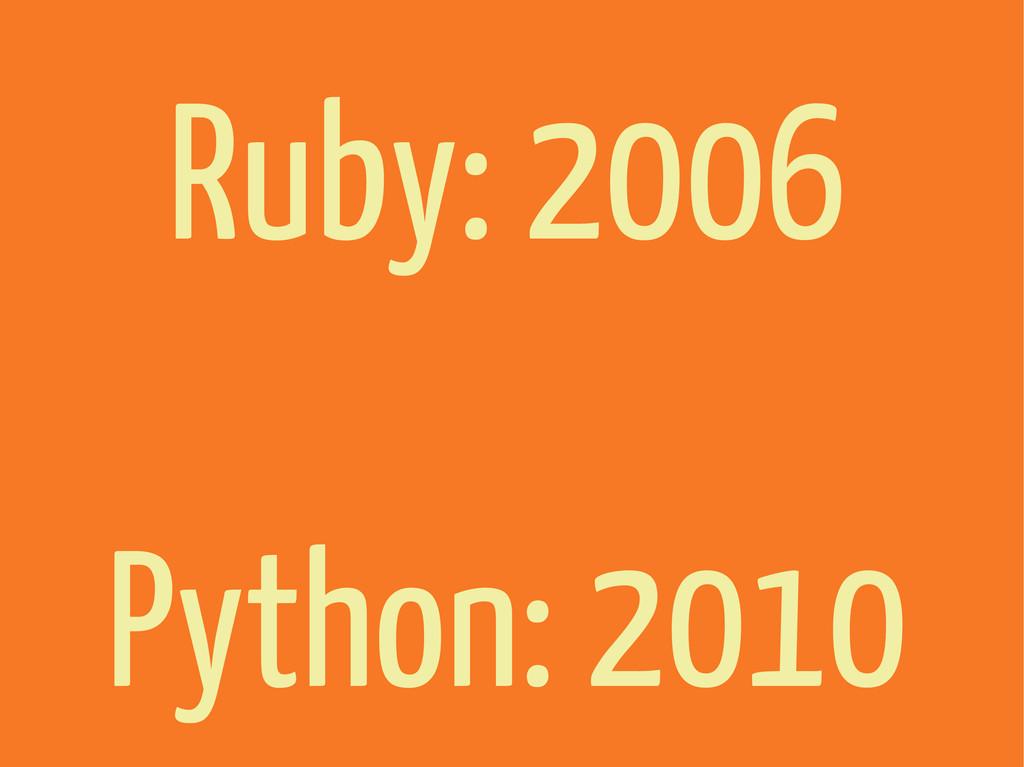 Ruby: 2006 Python: 2010