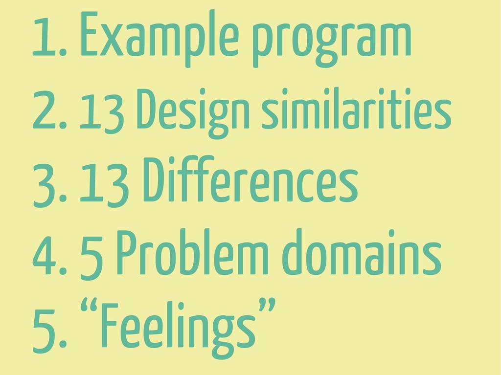 1. Example program 2. 13 Design similarities 3....
