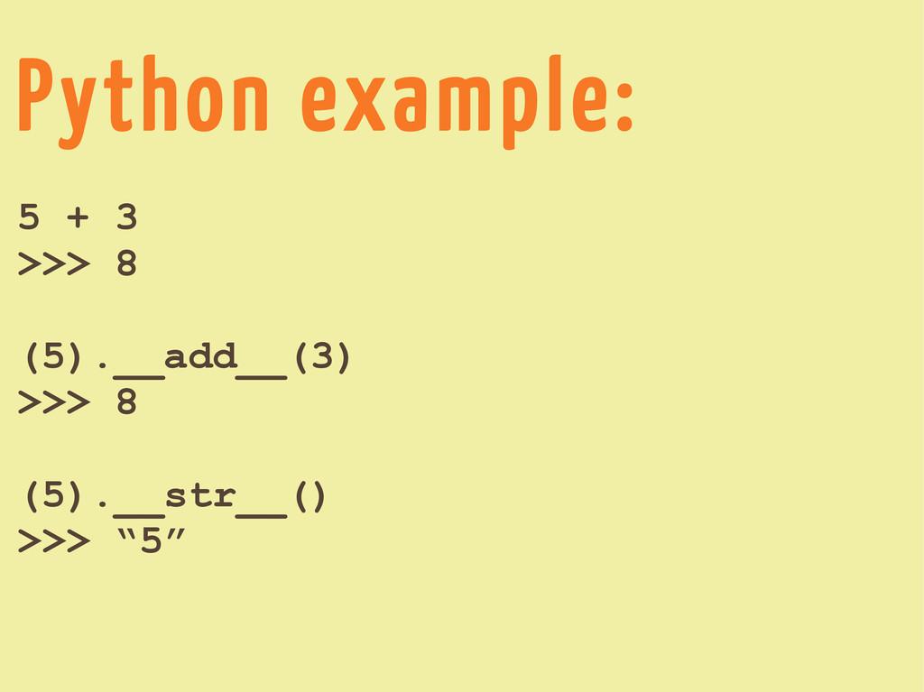 Python example: 5 + 3 >>> 8 (5).__add__(3) >>> ...