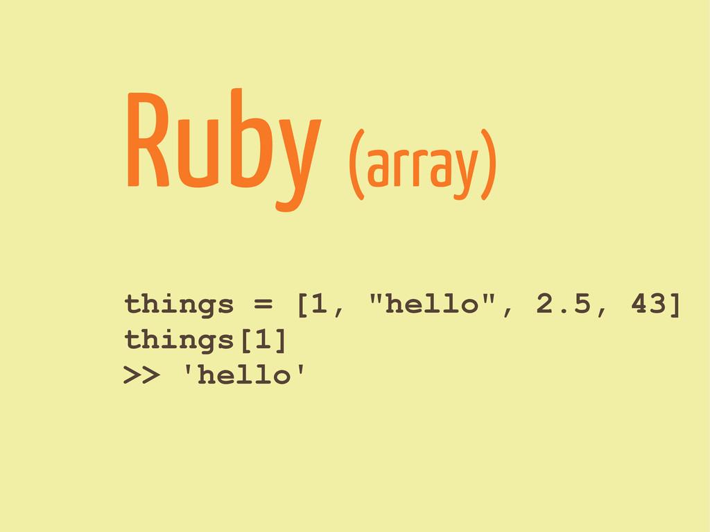 """things = [1, """"hello"""", 2.5, 43] things[1] >> 'he..."""
