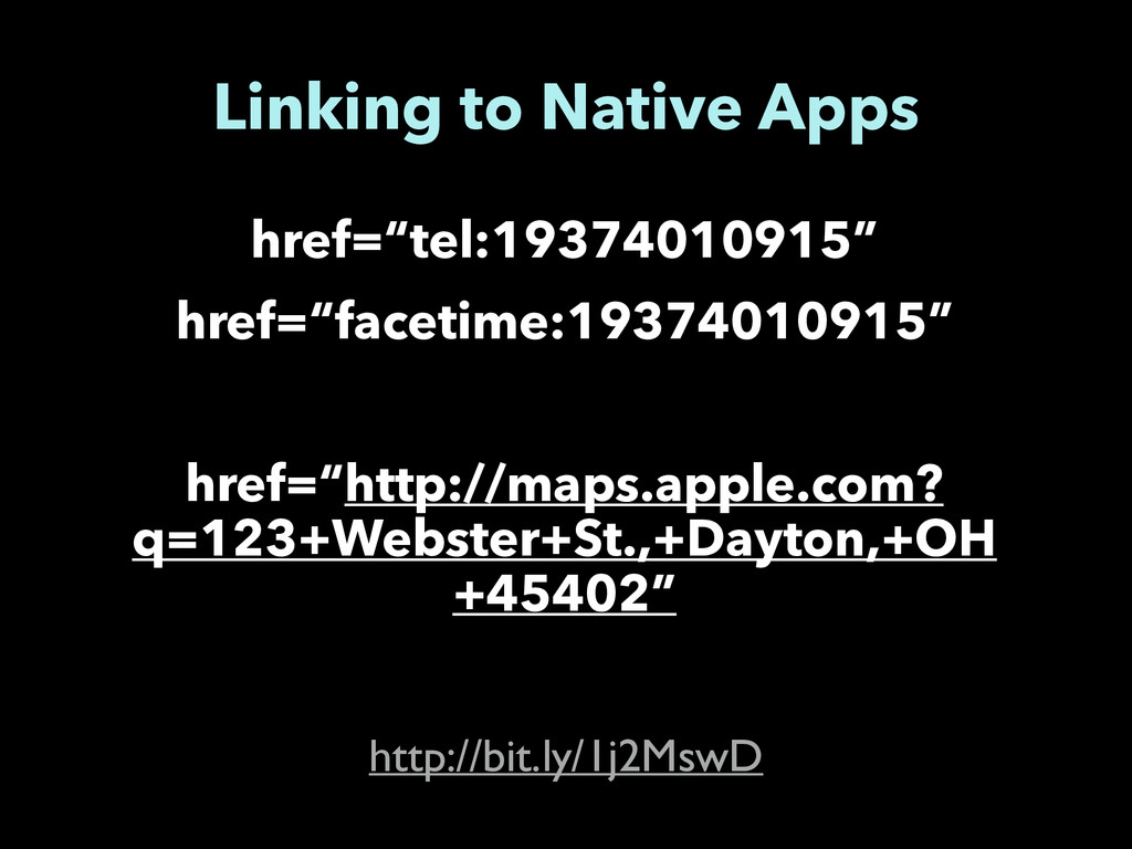 "Linking to Native Apps href=""tel:19374010915"" h..."