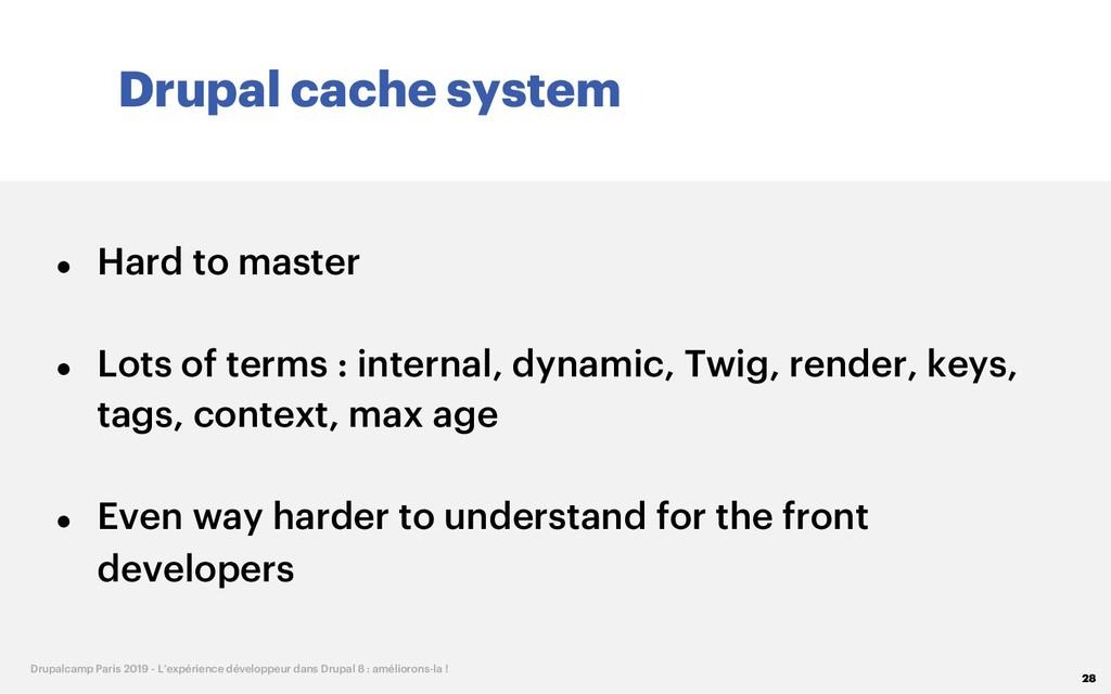 Drupal cache system 28 Drupalcamp Paris 2019 - ...