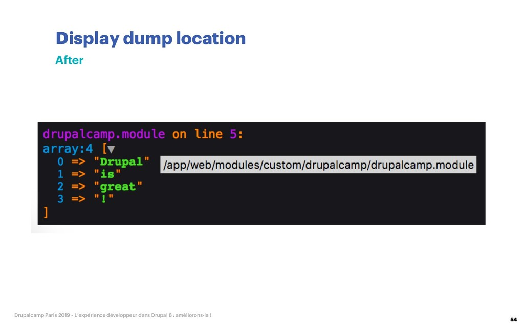 Display dump location 54 Drupalcamp Paris 2019 ...