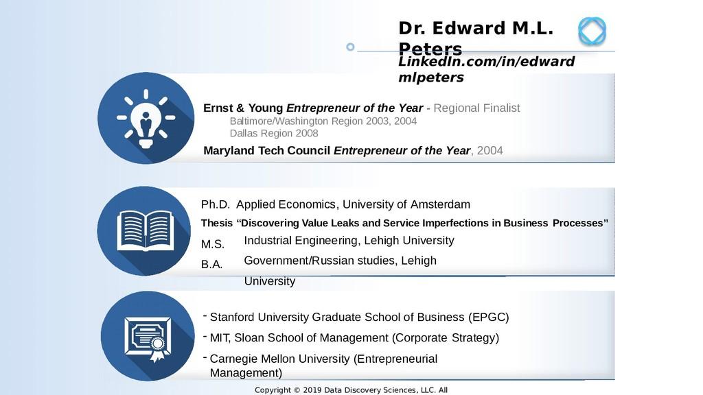 2 Dr. Edward M.L. Peters Ph.D. Applied Economic...