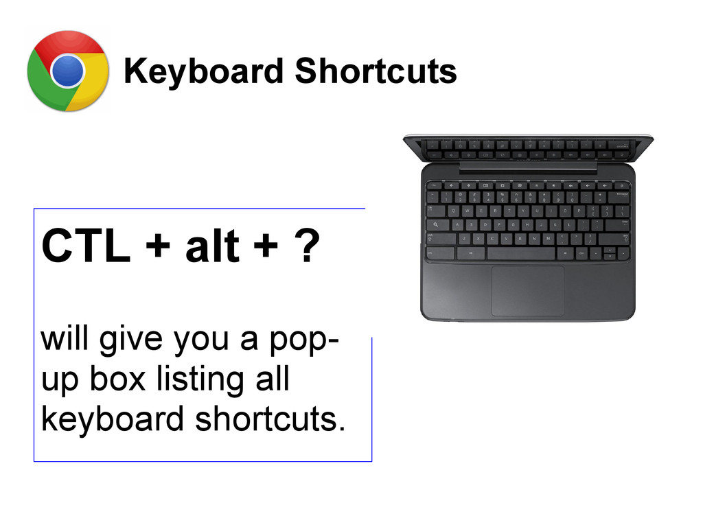 Keyboard Shortcuts CTL + alt + ? will give you ...
