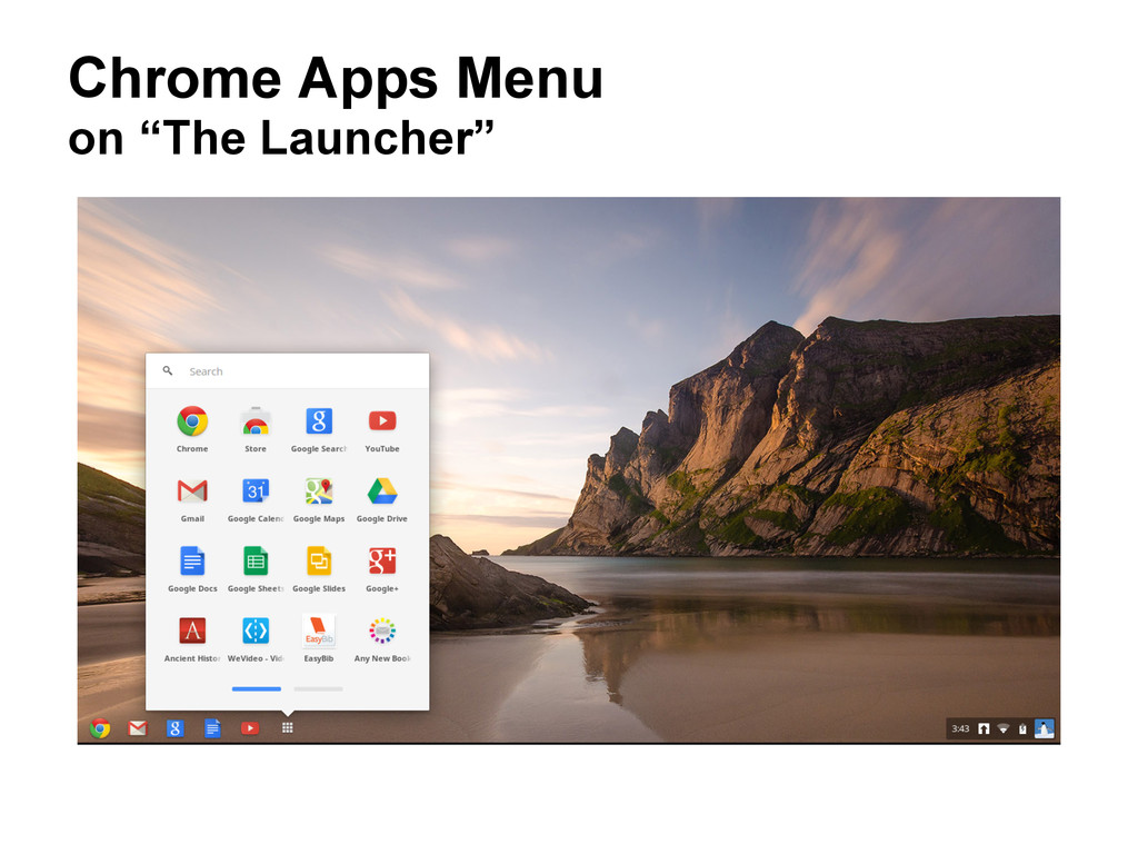"""Chrome Apps Menu on """"The Launcher"""""""
