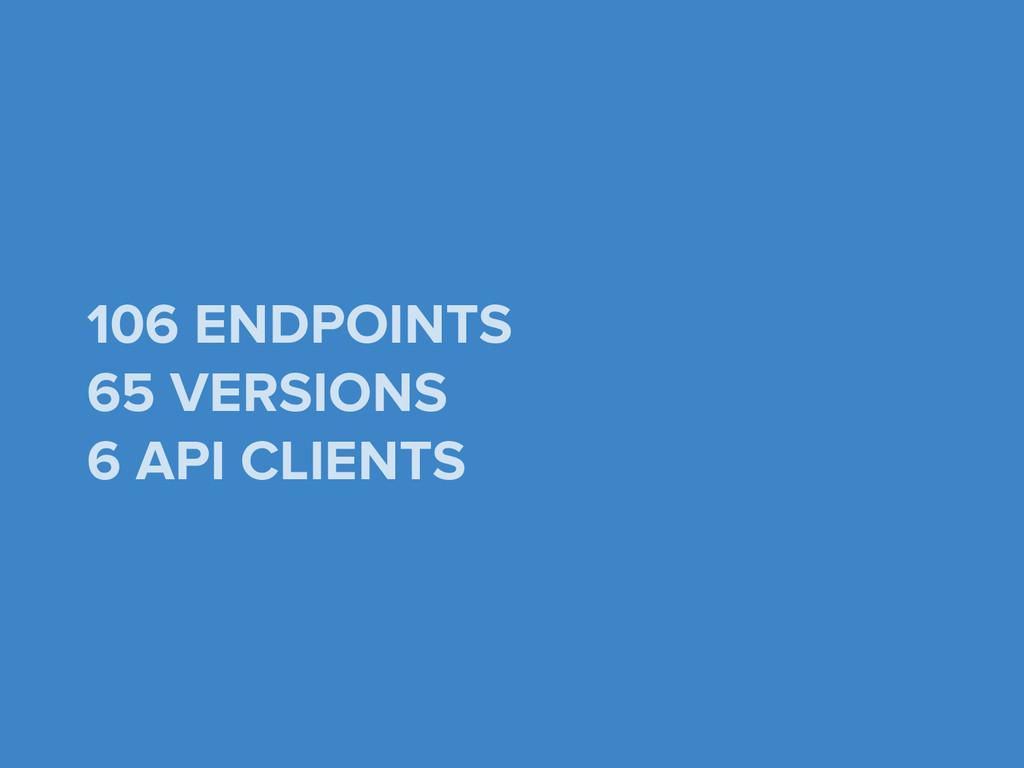106 ENDPOINTS 65 VERSIONS 6 API CLIENTS